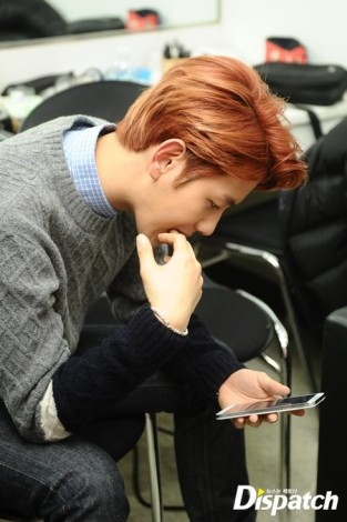 Baekhyun nervously looks at his messages