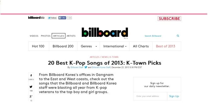 Billboard- 20 Best K-pop Songs of 2013