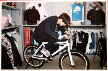 Chanyeol rides a bike