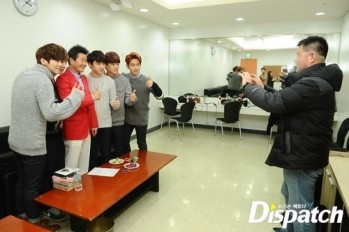 Group Pose with Interviewer (Side View)