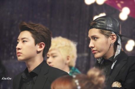 Kris & Chanyeol in black suits