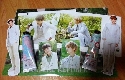 A set contains: (6) random hand creams + 1 random EXO member photocard + 1 random EXO member standee Another set contains: (4) random hand creams + 1 random EXO member standee *While Supplies Last!