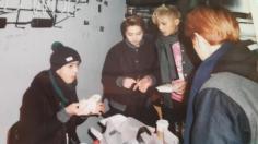 Sehun, Xiumin, Tao, Baekhyun all Gathered around food