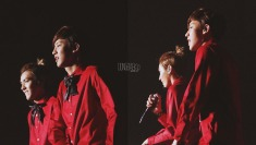 Chanyeol & Kris in red shirts and black bow ties