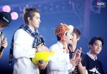 Kris, D.O, & Kai in EXO SMTOWN Week T-shirts