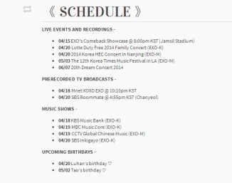 EXO April_May Schedule